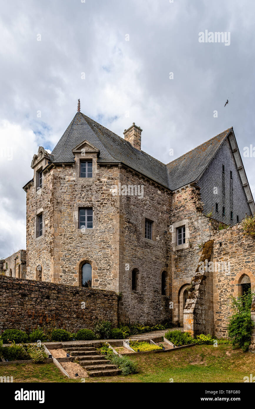 Paimpol, France - July 28, 2018: The Abbey of Beauport, Cotes-d'Armor, Brittany, France. Old Abbaye Maritime de Beauport Stock Photo