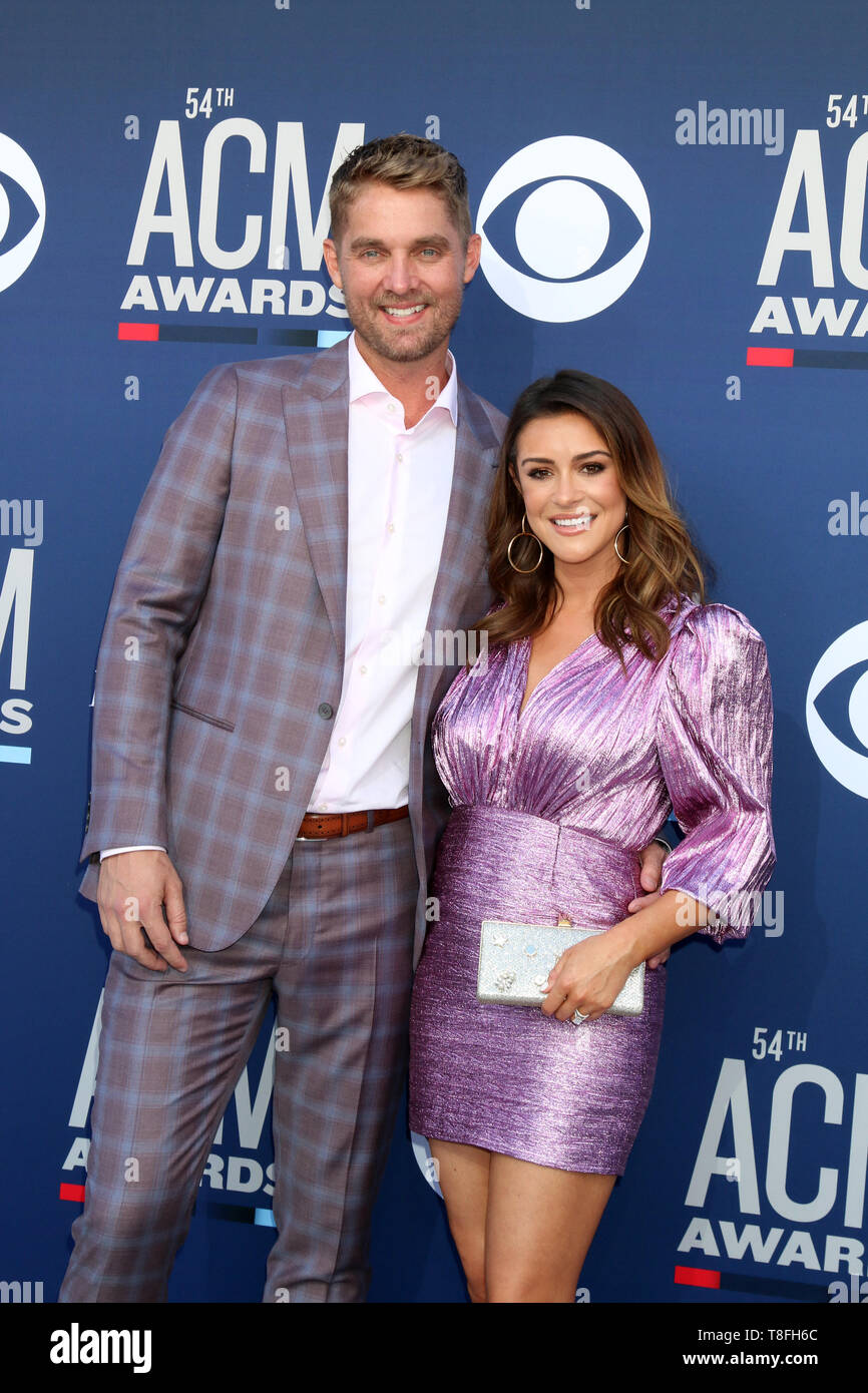 54th Academy of Country Music Awards at the MGM Grand Garden Arena  Featuring: Brett Young, Taylor Mills Where: Las Vegas, Nevada, United States When: 07 Apr 2019 Credit: Nicky Nelson/WENN.com - Stock Image