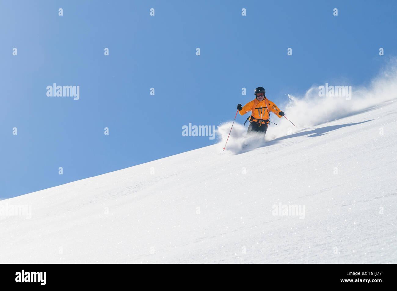 Expert skier on Monte Rosa glaciers in impressive high alpine nature - Stock Image