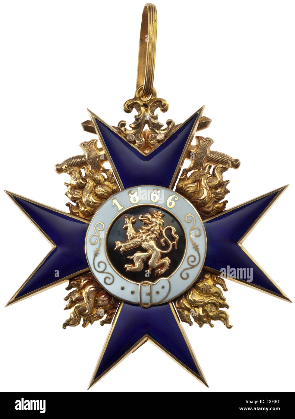A Grand Cross with Swords of the Bavarian Military Merit Order Cross of the Order in Gold from the pre-1917 period of the First World War. The award, produced by the Hemmerle Brothers in Munich, is marked 'GEB.H. 750' in the lower cross arm. Between the hollow wrought, blue enameled cross arms the flames are individually inset and finely re-engraved in order to amplify their fire. The three-section medallion is white and black enameled. The swords, likewise hollow hand-wrought and completed on both sides, are affixed at their cen 20th century, Additional-Rights-Clearance-Info-Not-Available - Stock Image
