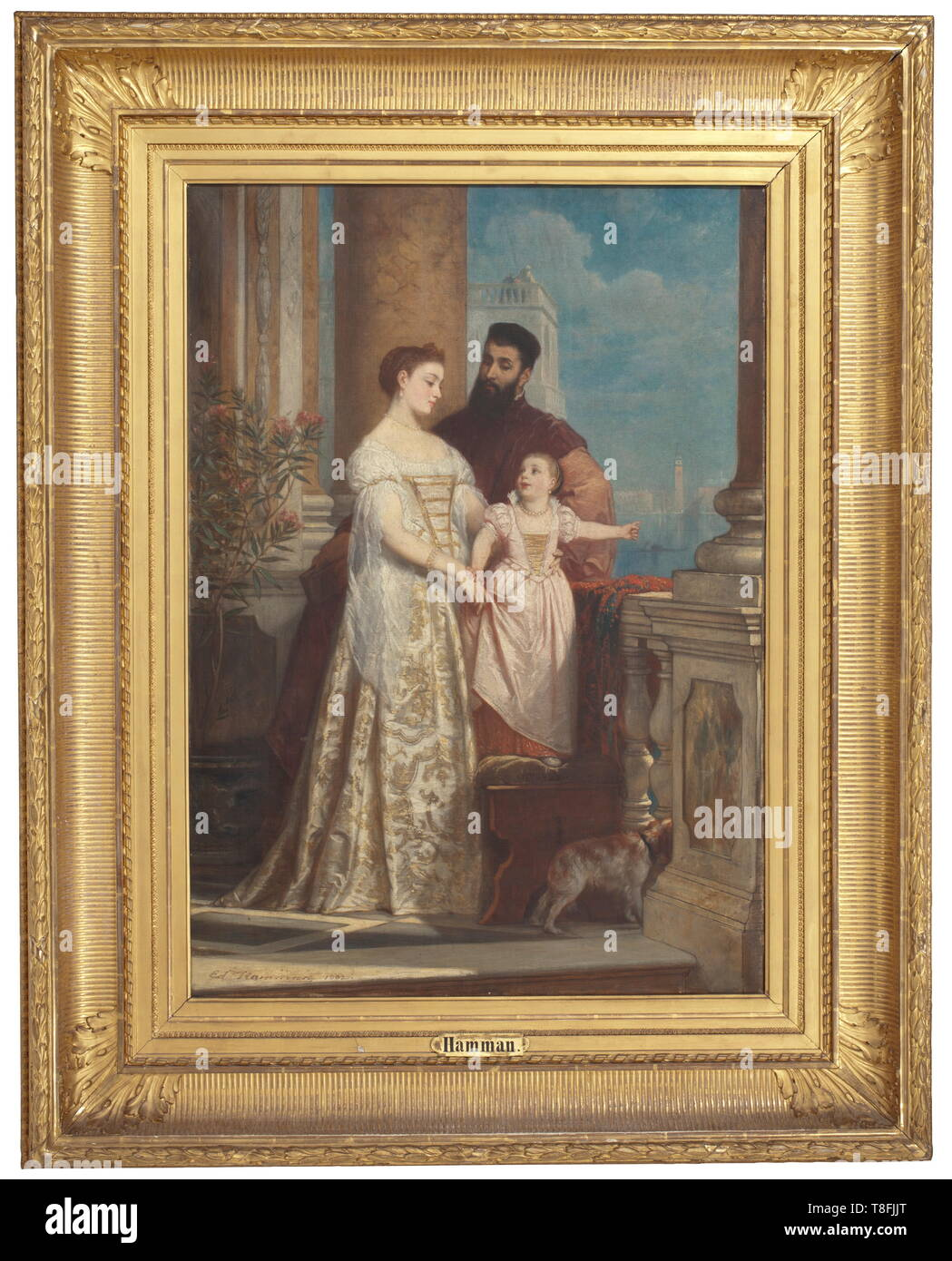 Edouard Jean Conrad Hamman (1819 - 1888) - a Venetian patrician family on a balcony Oil on canvas. Signed and dated on the lower left 'Ed. Hamman 1862'. Patrician family on a balcony, in the background San Giorgio Maggiore, Venice. In a magnificent gilt plaster frame (small damages). On the reverse side two adhesive inventory labels 'ON' (remnants) for the Grand Duchess Olga Nikolaevna of Russia and one inventory label 'P.E. & O.v.W. gemeinschaftlich' for the princesses Elsa and Olga von Württemberg. Dimensions of the painting approximately 85 x , Additional-Rights-Clearance-Info-Not-Available - Stock Image