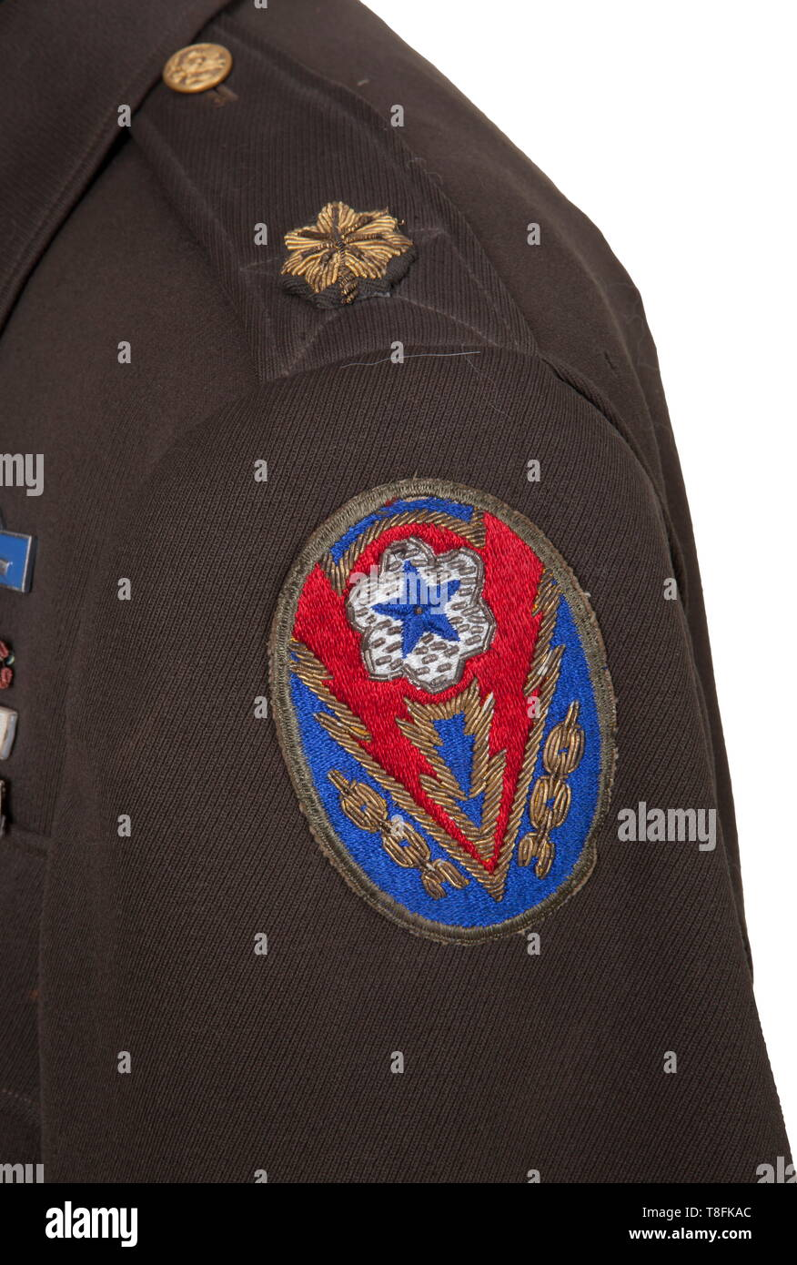 0d2977748fda Major John K. Lattimer Armor Uniform Lot Dark green gabardine service dress  'Ike'