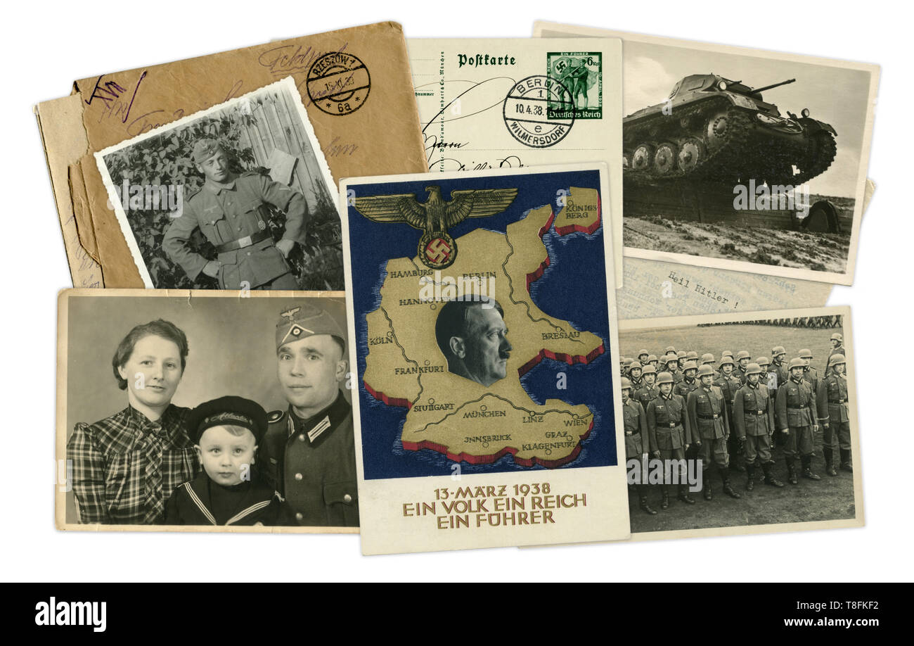 Historical photo collage of photos, postcards and letters. Adolf Hitler in the center. Soldiers, tanks. Destiny of man. Germany, world war II, 1939 Stock Photo