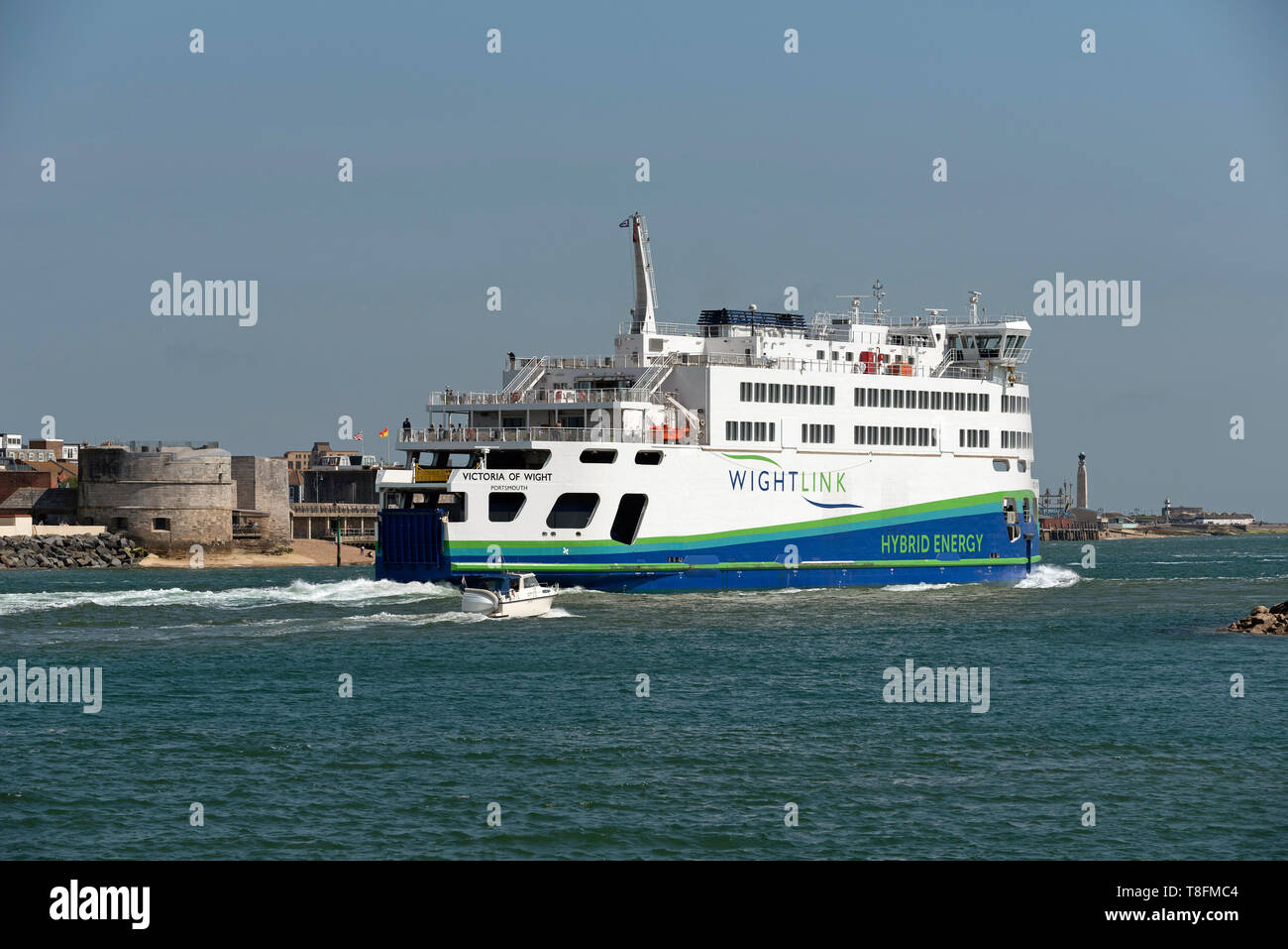 Portsmouth, England, UK. May 2019. The roro ferry Victoria of Wight leaving Portsmouth Harbour for the Isle of Wight Stock Photo