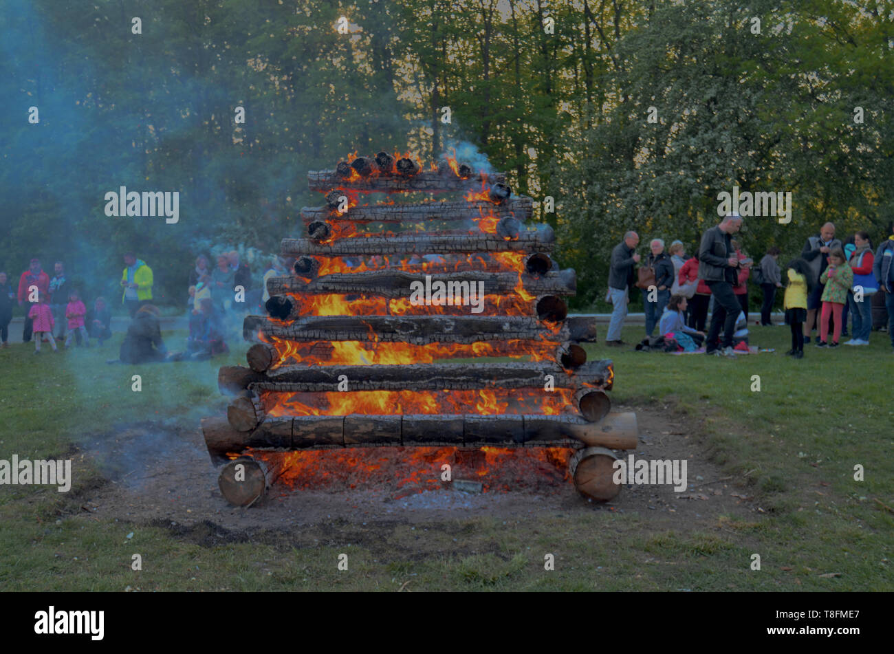Prague / Czech Republic - April 30 2019: Gathering for czech tradition of burning the witches (Paleni Carodejnic), originally pagan festival - Stock Image