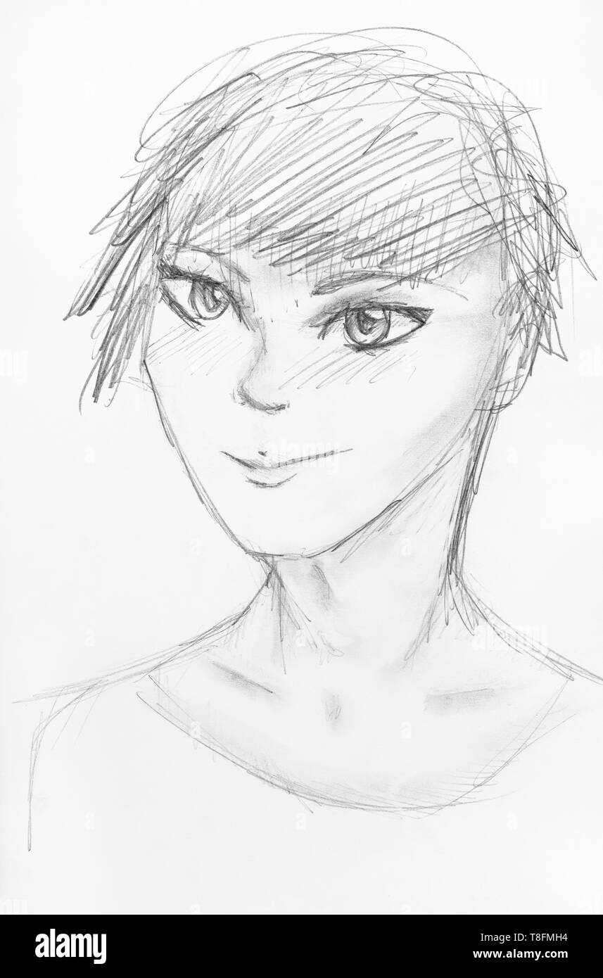 Sketch of happy teenager with short hair in anime style hand drawn by black pencil on white paper