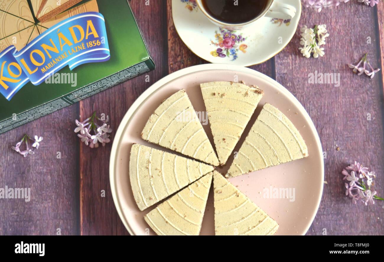Original czech Kolonada spa waffer triangles:  Chocolate filled biscuits by Opavia, original wrap box, vintag - Stock Image