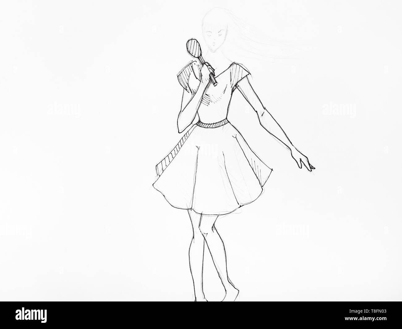 Sketch of dancing girl in short wide dress with microphone hand