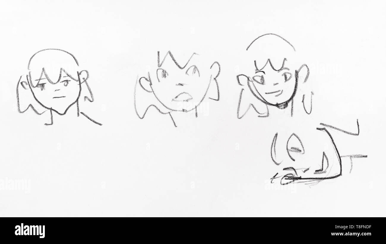 Line sketches of emotional faces of girls with hand drawn by black pencil on white paper
