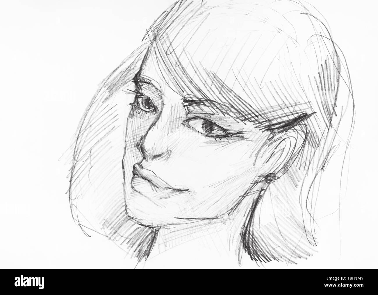 Sketch of head of romantic young woman with thick lips hand