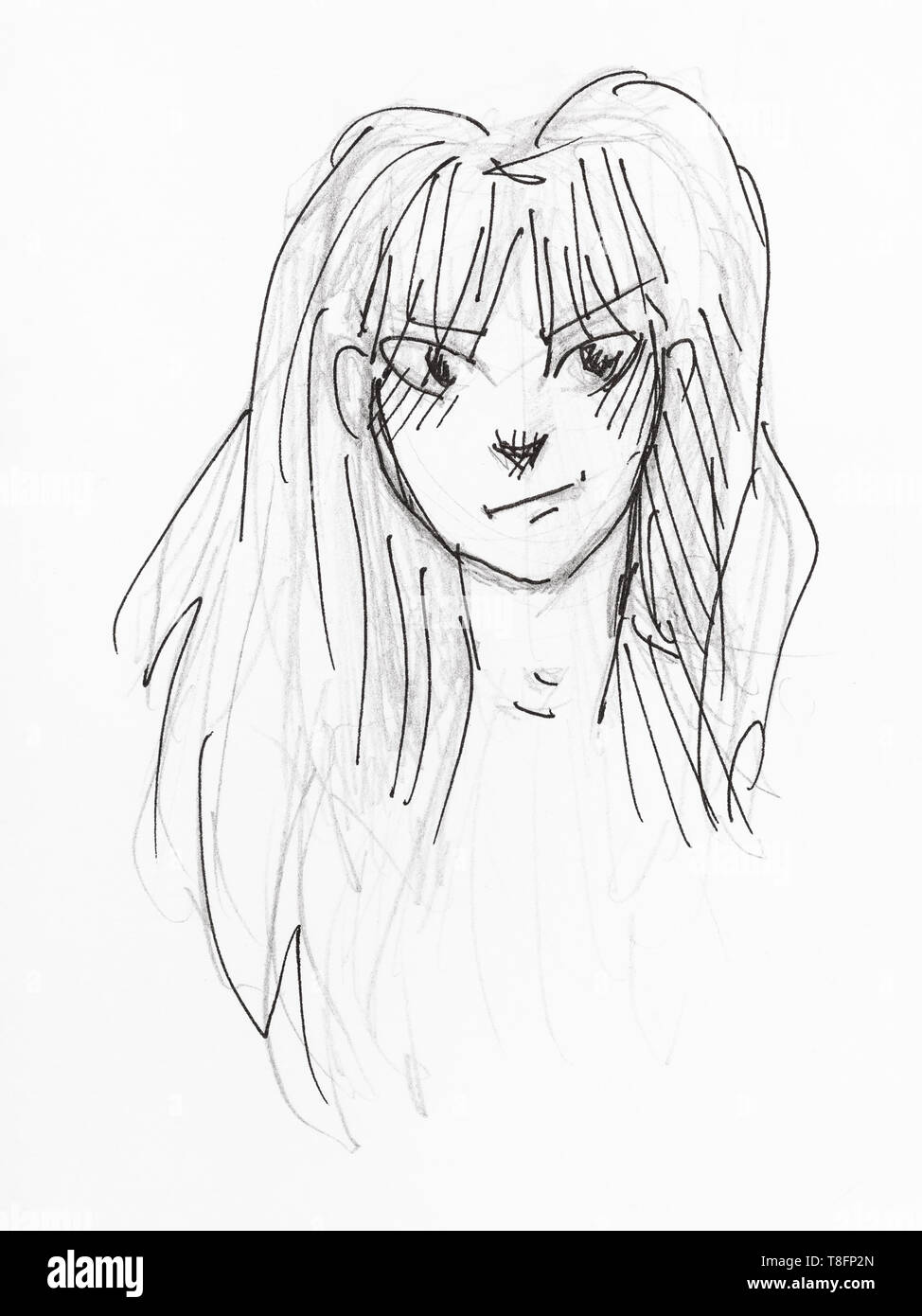 portrait of skeptical young woman with long hair hand-drawn by black pencil and ink on white paper - Stock Image