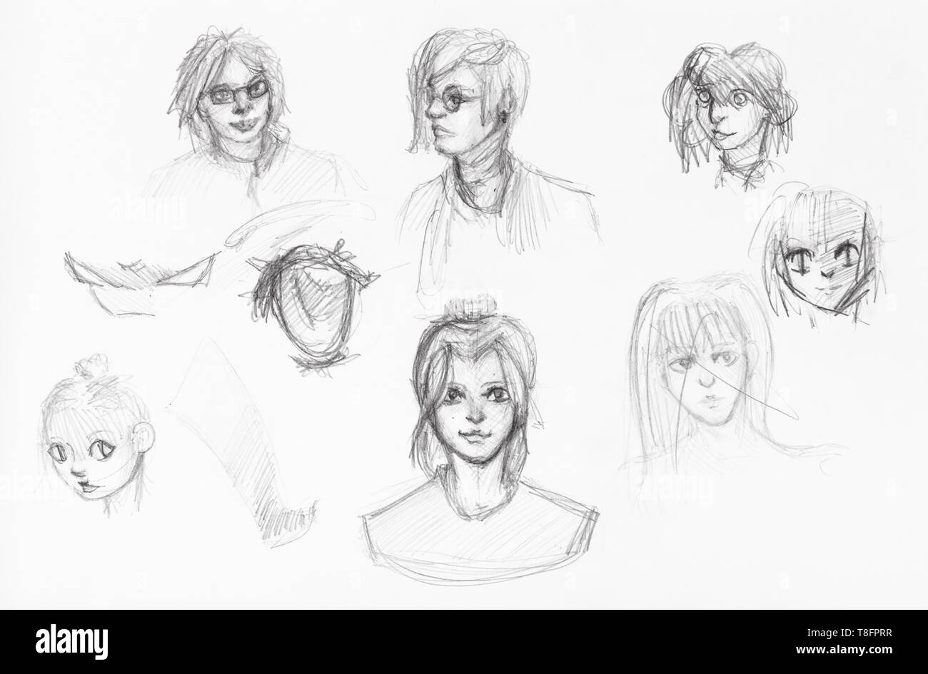 Sketches of various heads of girls and boys hand drawn by