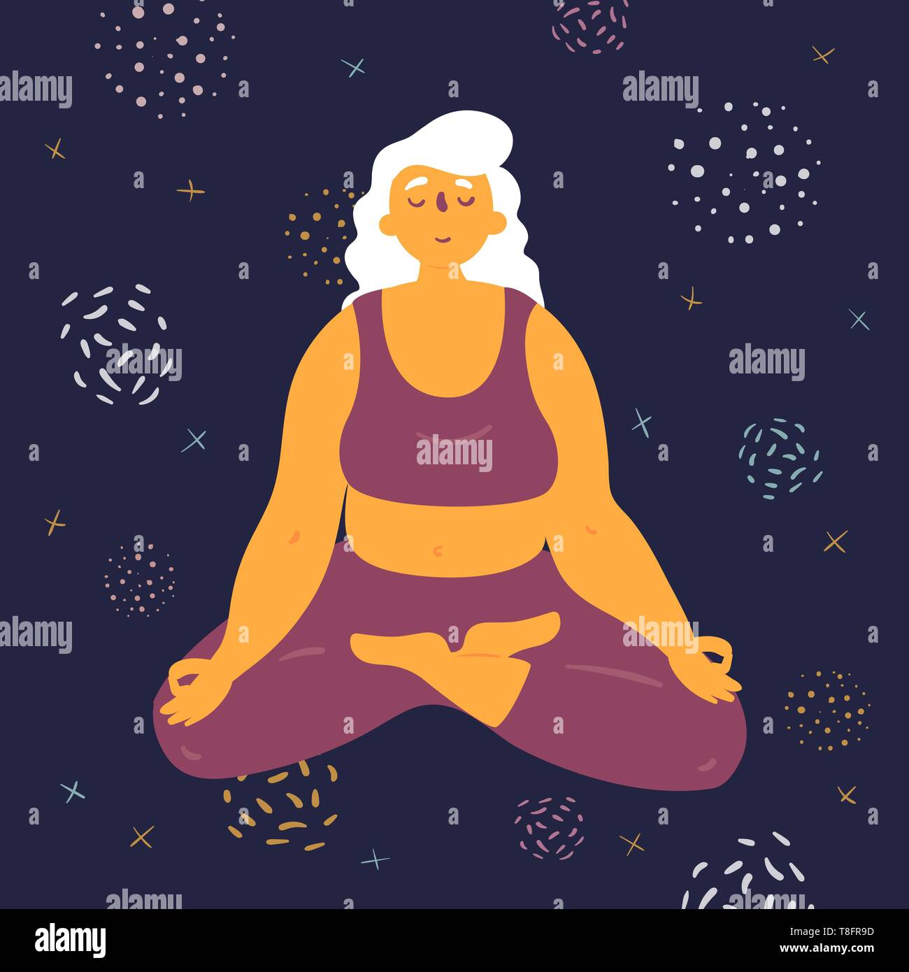 Body positive woman in lotus pose. Plus size model makes asana in the space. Young girl crossed her legs and meditated. Zen relaxation.  How to do yog - Stock Image