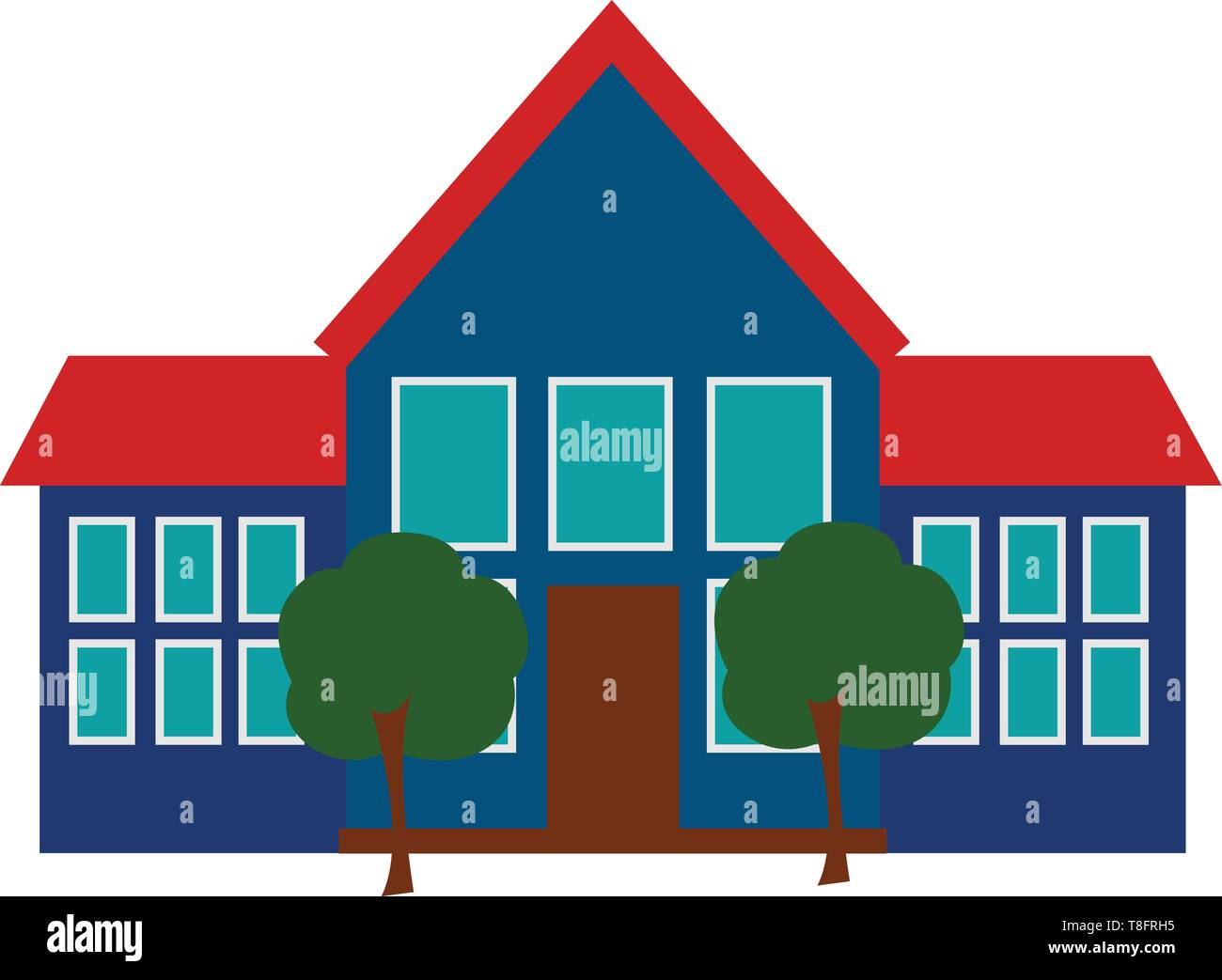 A school with the building as that of a large house has a brown door to its front, and two tall green trees at the premises set isolated on white back - Stock Vector