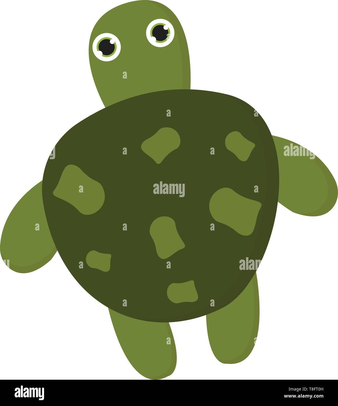 A Cute Turtle Has A Dark Green Shell Or Shield With Patches And