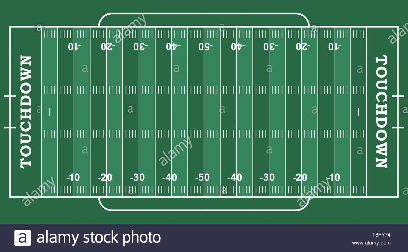 American football field with marking. Football field in top view with white markup - Stock Image