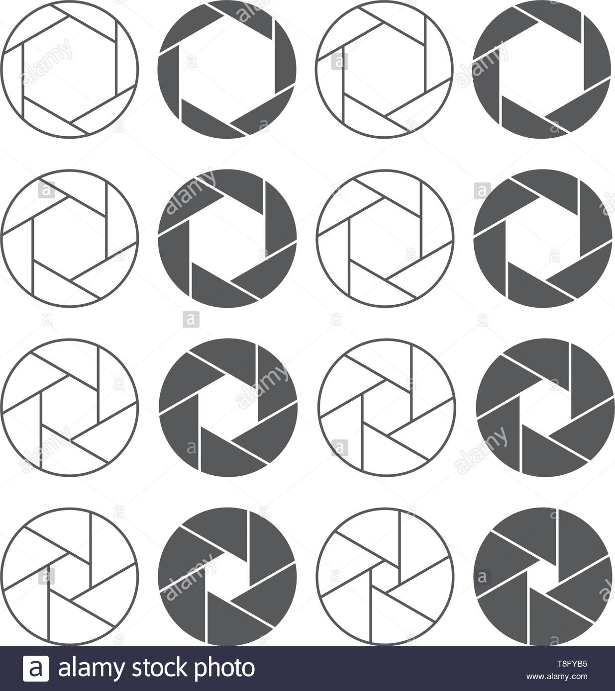 Camera shutter aperture icons set. Monochrome diagrams collection - Stock Image
