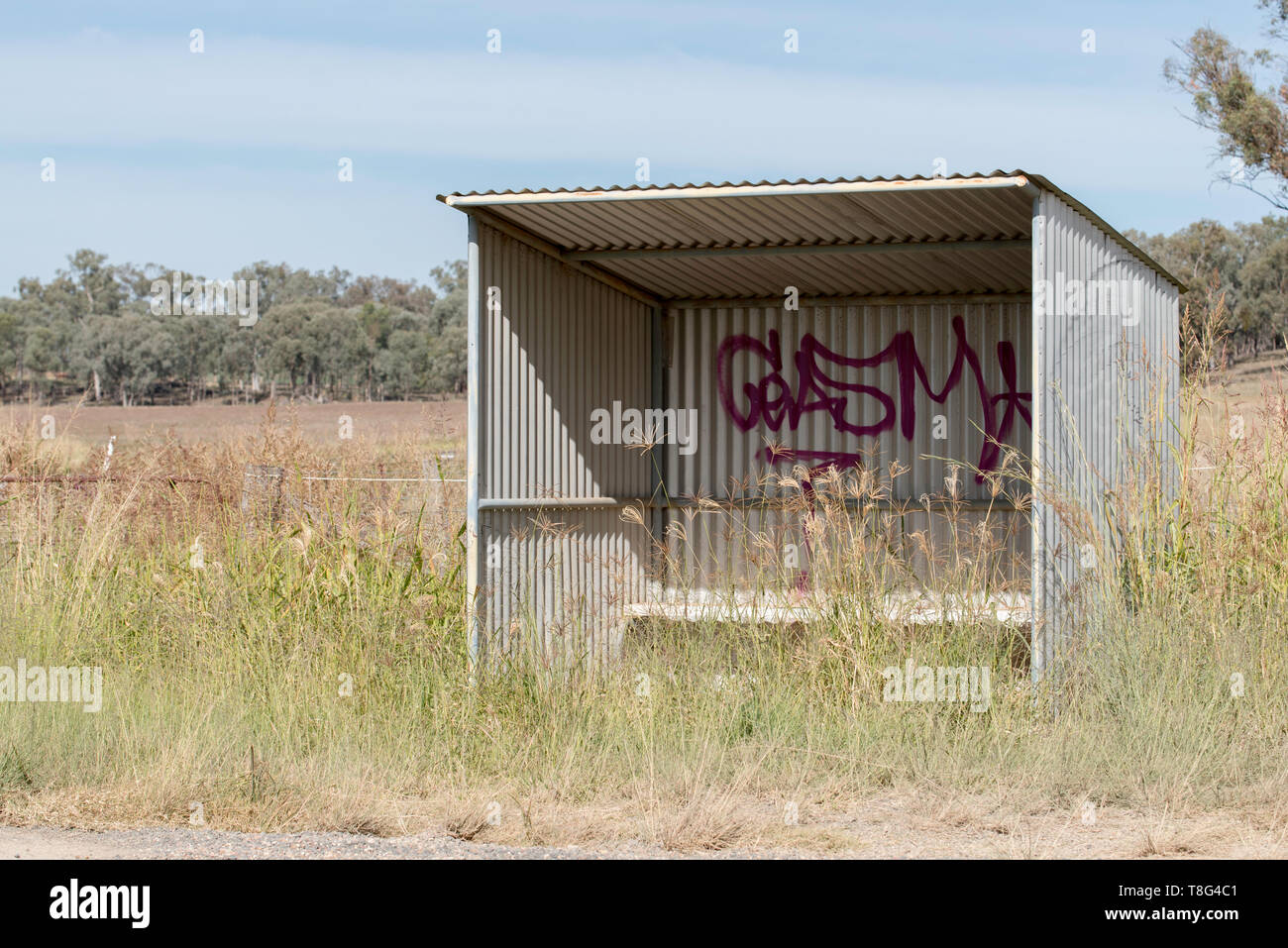A lonely bus stop in regional New South Wales, Australia - Stock Image