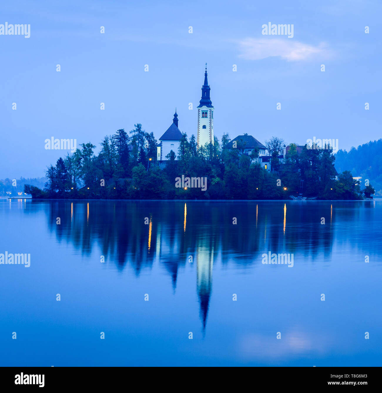Early morning view of Bled island, Slovenia Stock Photo
