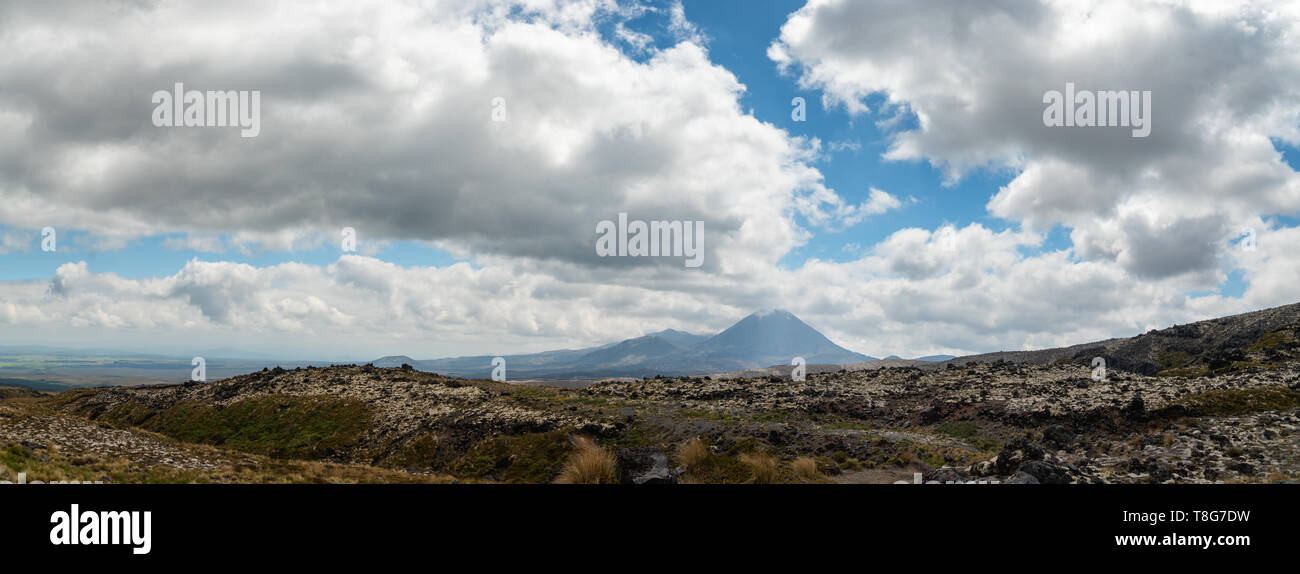 Scenic View of Tongariro National Park, North Island of New Zealand. Panorama - Stock Image
