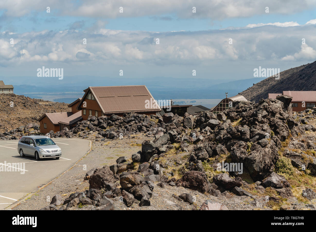 Whakapapa Village on Mount Ruapehu Volcano, Tongariro National Park, New Zealand - Stock Image