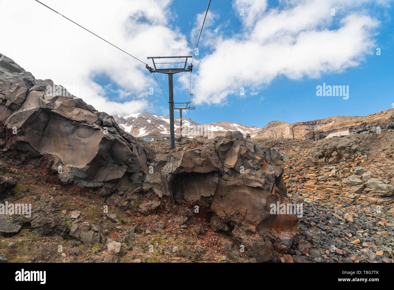 Ski Lift, Mount Ruapehu,  Tongariro National Park, North Island of New Zealand - Stock Image