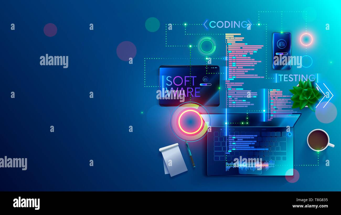 Software development coding process concept  Programming, testing