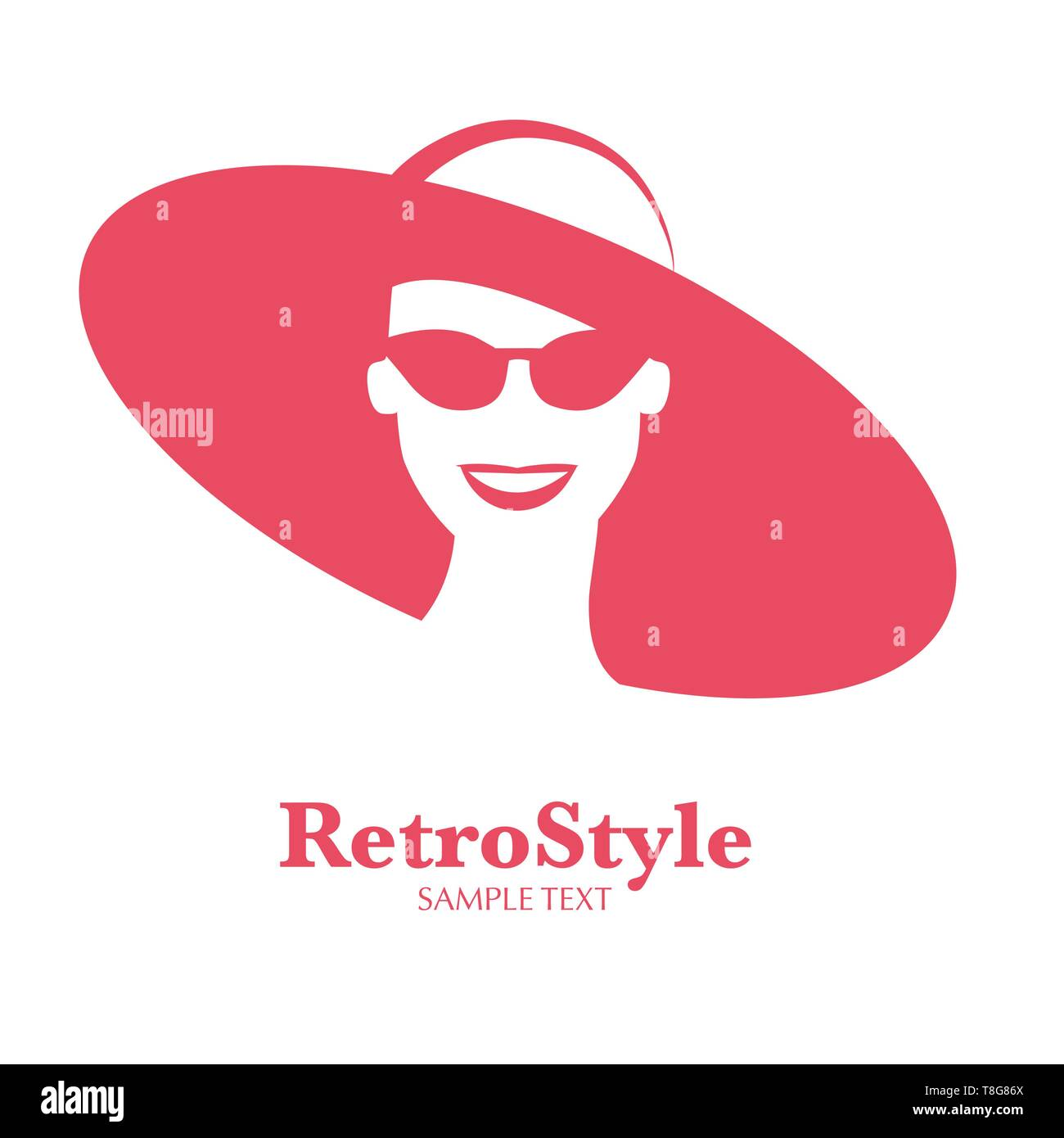 Icon or avatar of smiling woman with hat and sunglasses retro style