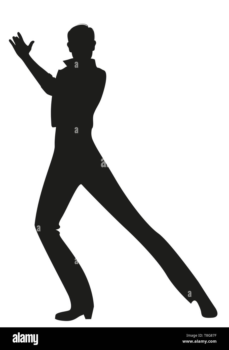Silhouette of Spanish Flamenco dancer man dancing isolated on white background - Stock Image