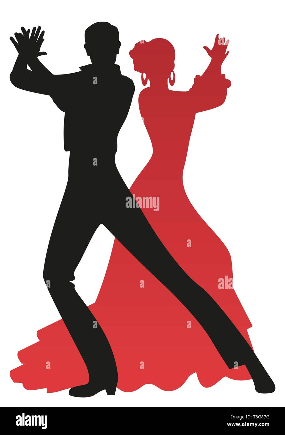 Silhouette of couple of flamenco dancers playing the palms, isolated on white background - Stock Image