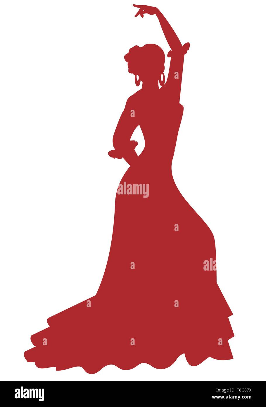 Silhouette of Spanish Flamenco dancer woman dancing isolated on white background - Stock Image