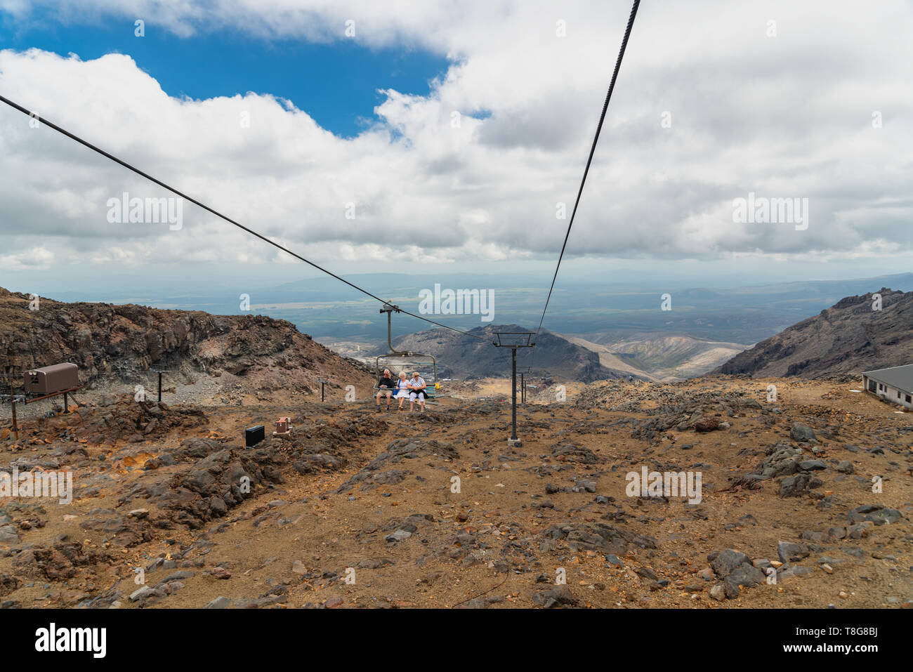 Ski Lift, Mount Ruapehu,  Tongariro National Park - Stock Image