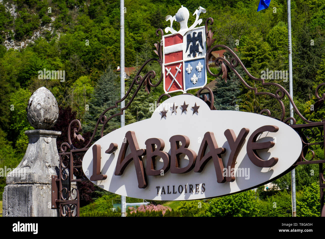 L'Abbaye, renowned Hotel and restaurant, Talloire, Annecy Lake, Haute-Savoie, France Stock Photo