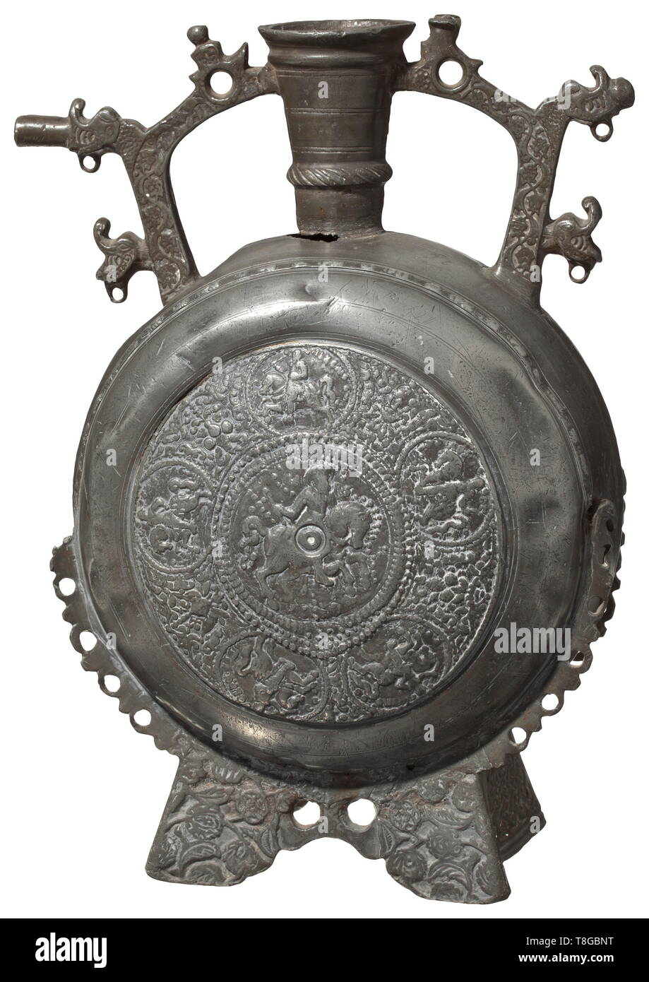 A magnificent Balkan flask, mid-17th century Flat flask of leaded pewter alloy with grey age patina, richly decorated in relief. Round body soldered of three pieces, both sides with a cast of a Nuremberg prince-elector plate. Flared foot with scrolling flowers and lattice pattern at either side. Conical neck with sturdy lip, two side handles with scrolling leaves in relief and stylised dragon heads. Some dents, small cracks and older repairs, minor flaw at the shoulder. Height 36 cm. Rare vessel type, probably used for religious ceremonies. The d, Additional-Rights-Clearance-Info-Not-Available - Stock Image