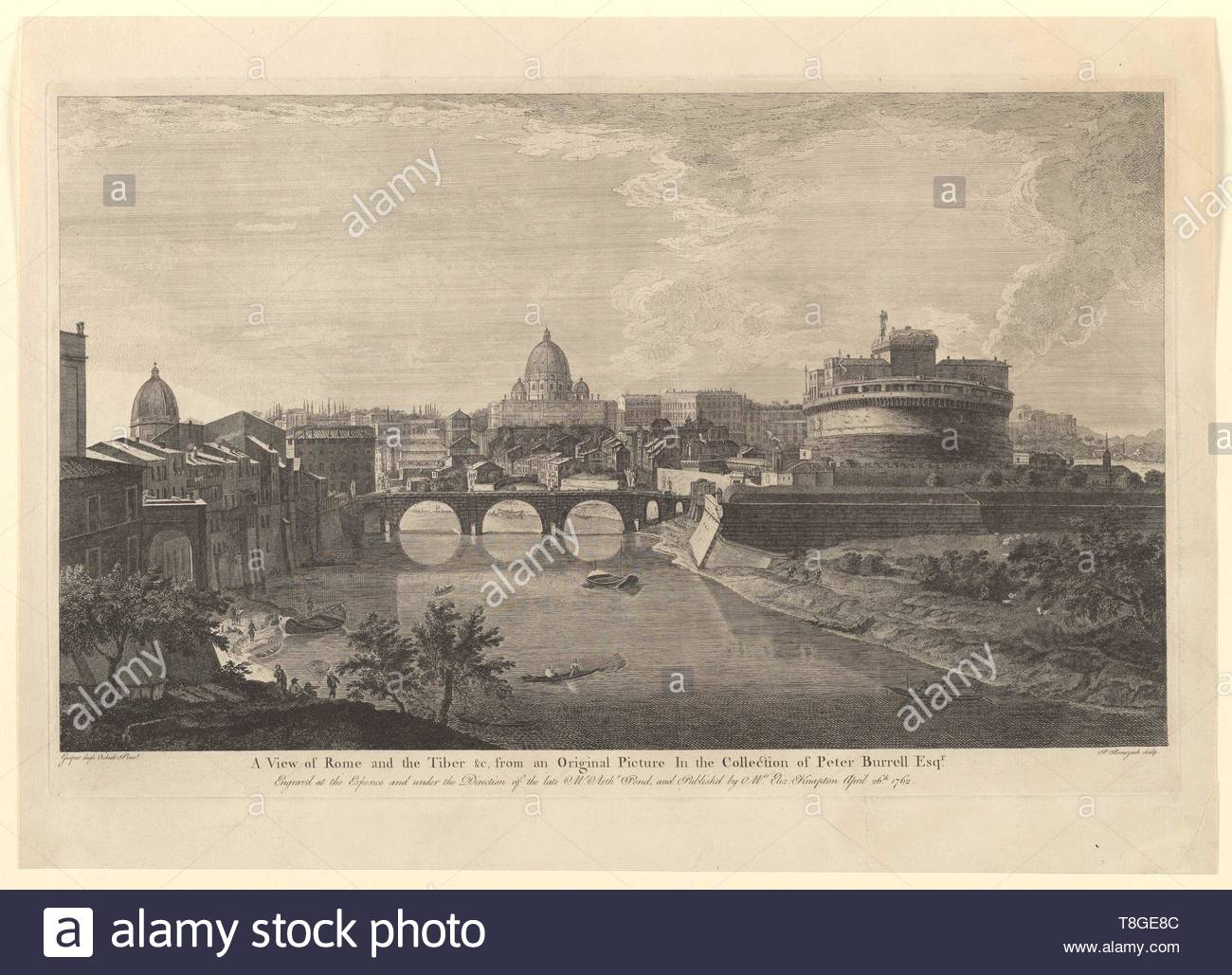 Benazech, Peter Paul, approximately 1730-1783. printmaker.-A view of Rome and the Tiber  c, from an original picture in the collection of Peter Burrell Esqr., 1762 April 26 - Stock Image