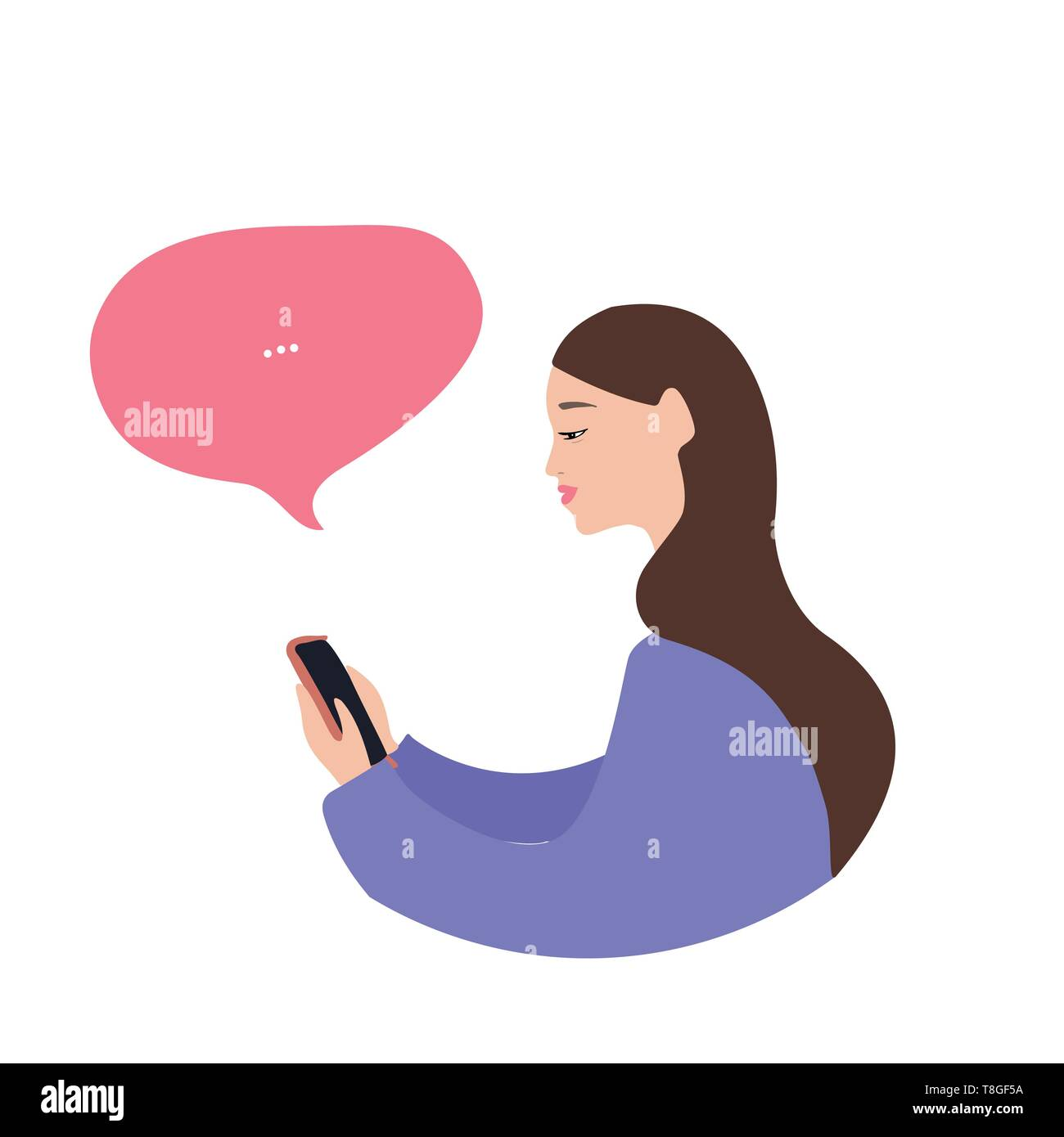 Beautiful caucasian woman with a smartphone, flat vector illustration on white background - Stock Image