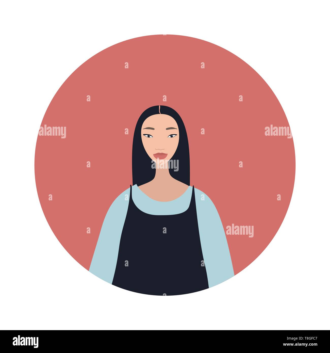 Young asian woman with black hair looks Stylish Beautiful Stock Vector
