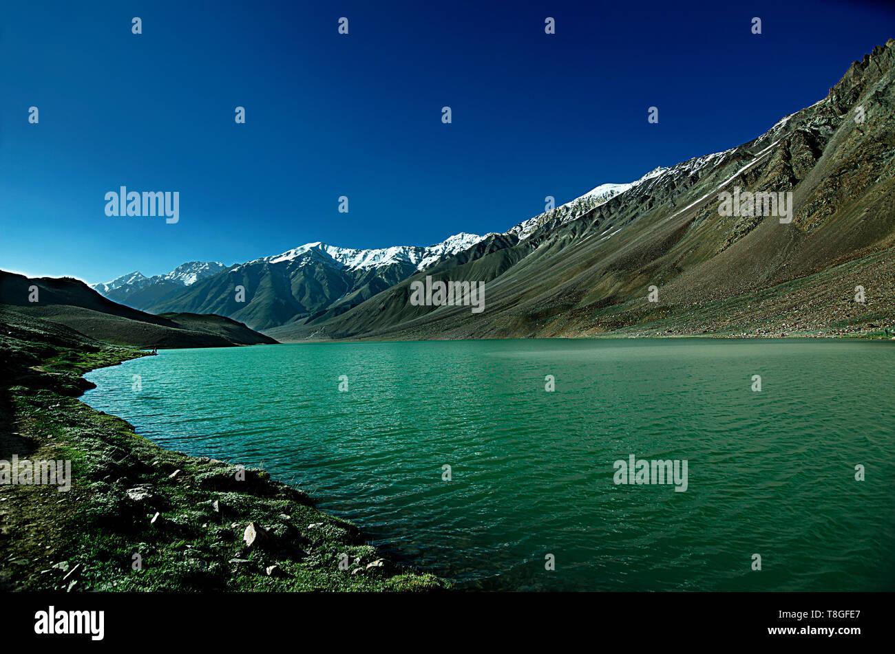 Chandratal Lake, Spiti Valley, Himachal Pradesh, India - Stock Image