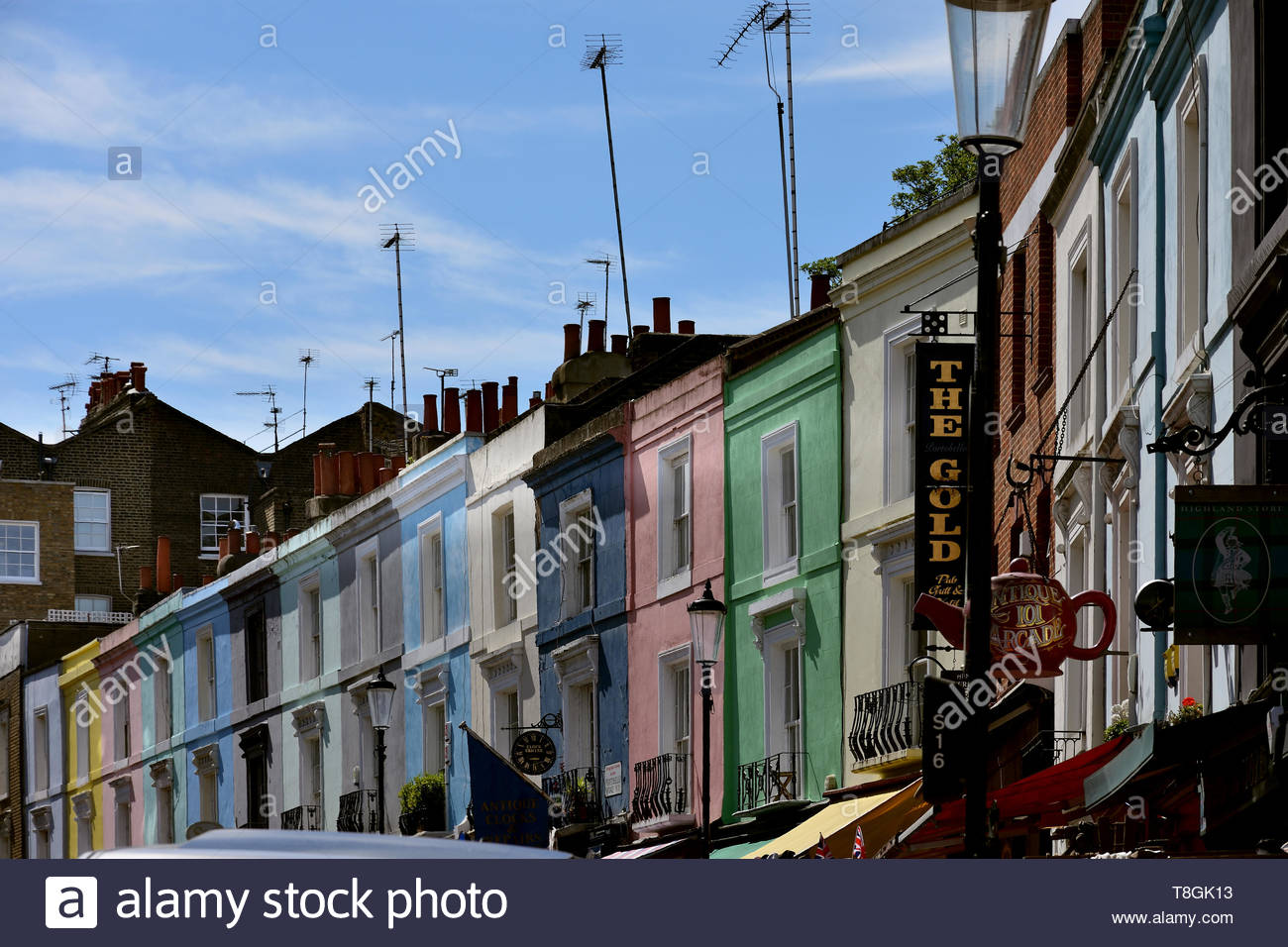 'Notting Hill' Famous London district with its characteristic shops and its colorful houses - Stock Image