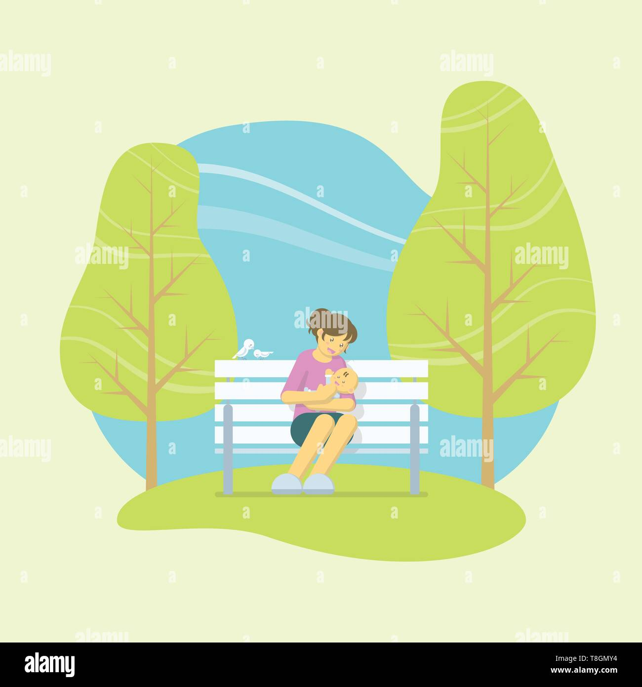 Mother playing with a baby in her arms while sitting on a white bench in a park with birds and trees in flat style - Stock Vector