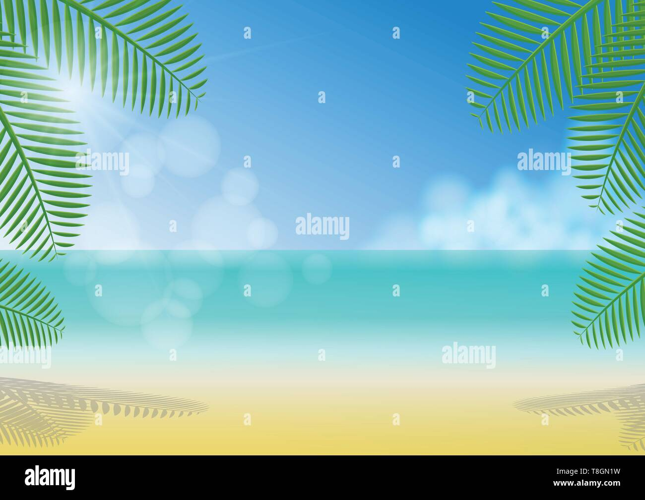 Sunny day under coconut trees shade on the beach, sea, clouds and clear blue sky background - Stock Vector