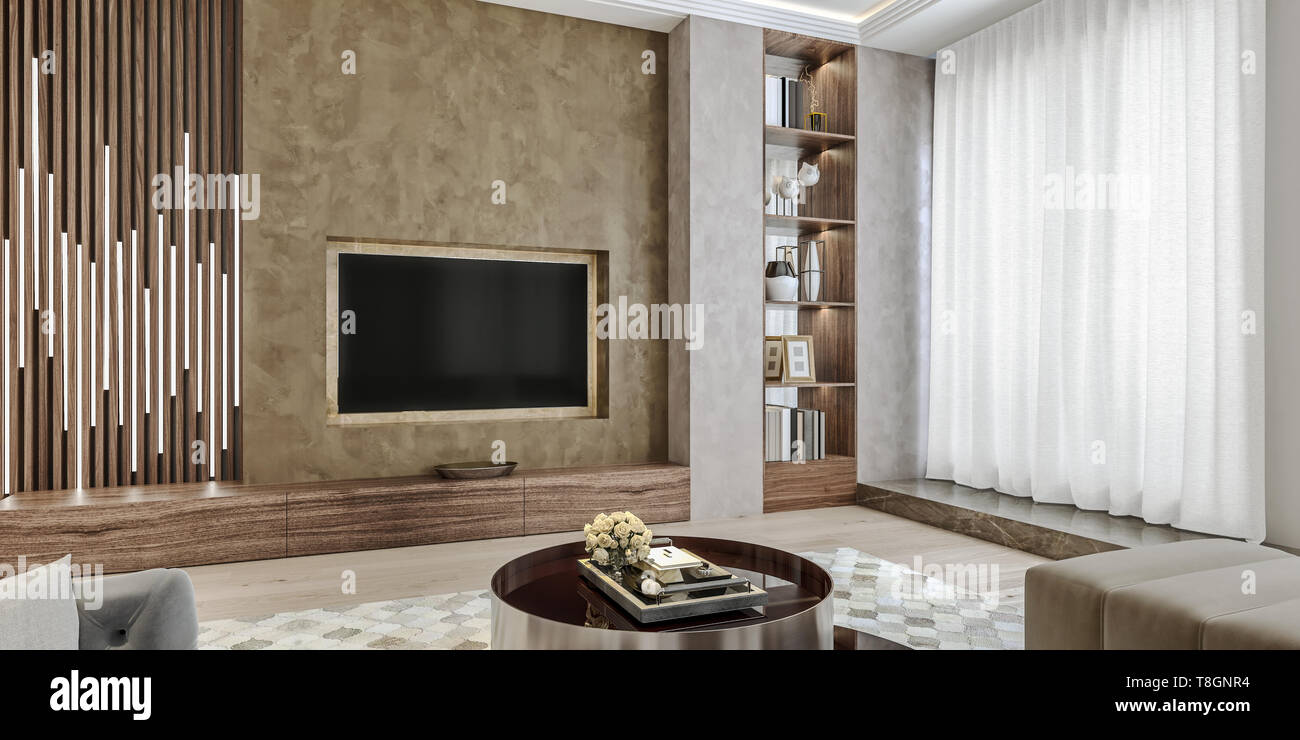 Modern Interior Design Of Living Room Angled Close Up View Of Tv Wall With Book Shelves Stucco Plaster Wooden Flooring 3d Rendering Stock Photo Alamy