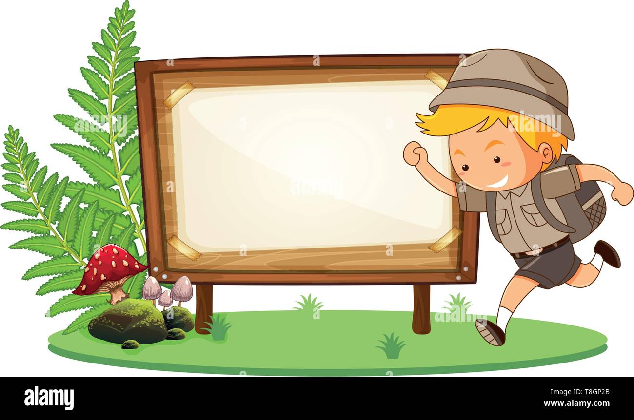 Boy scout and wooden banner illustration - Stock Vector