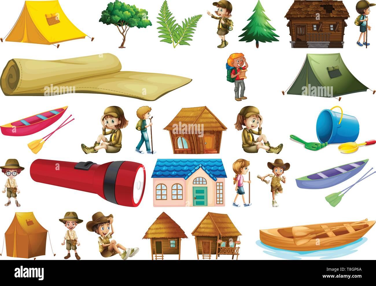 Set of camping element illustration - Stock Image
