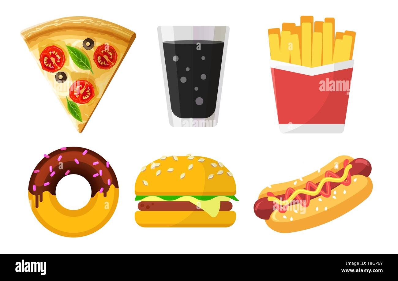 Set of colorful fast food icons for web sites and apps, pizza, soda, French fries, donut, hamburger, Hot Dog isolated on white background, junk food - Stock Image