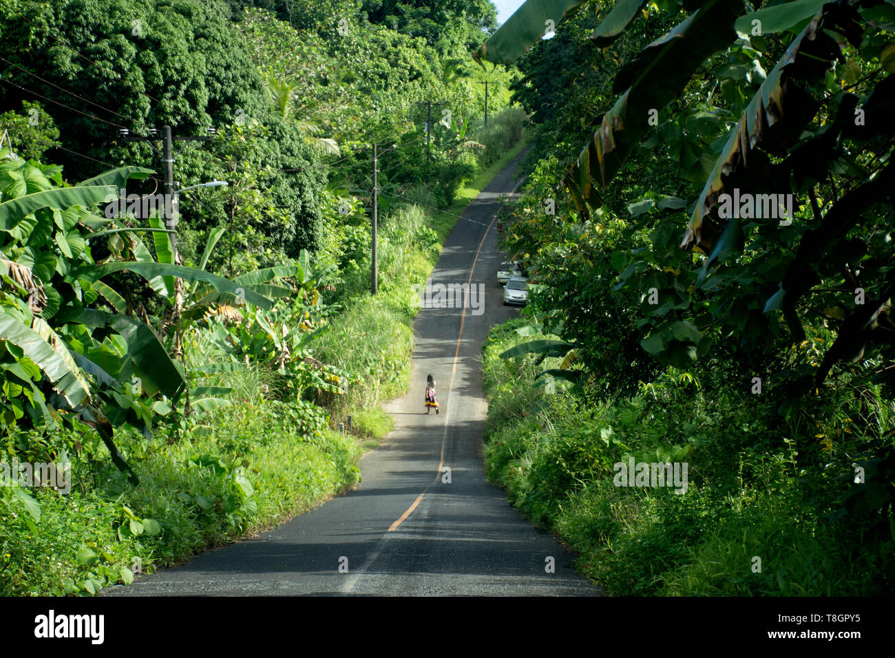 Micronesian woman crosses a road, Pohnpei, Federated States of Micronesia - Stock Image