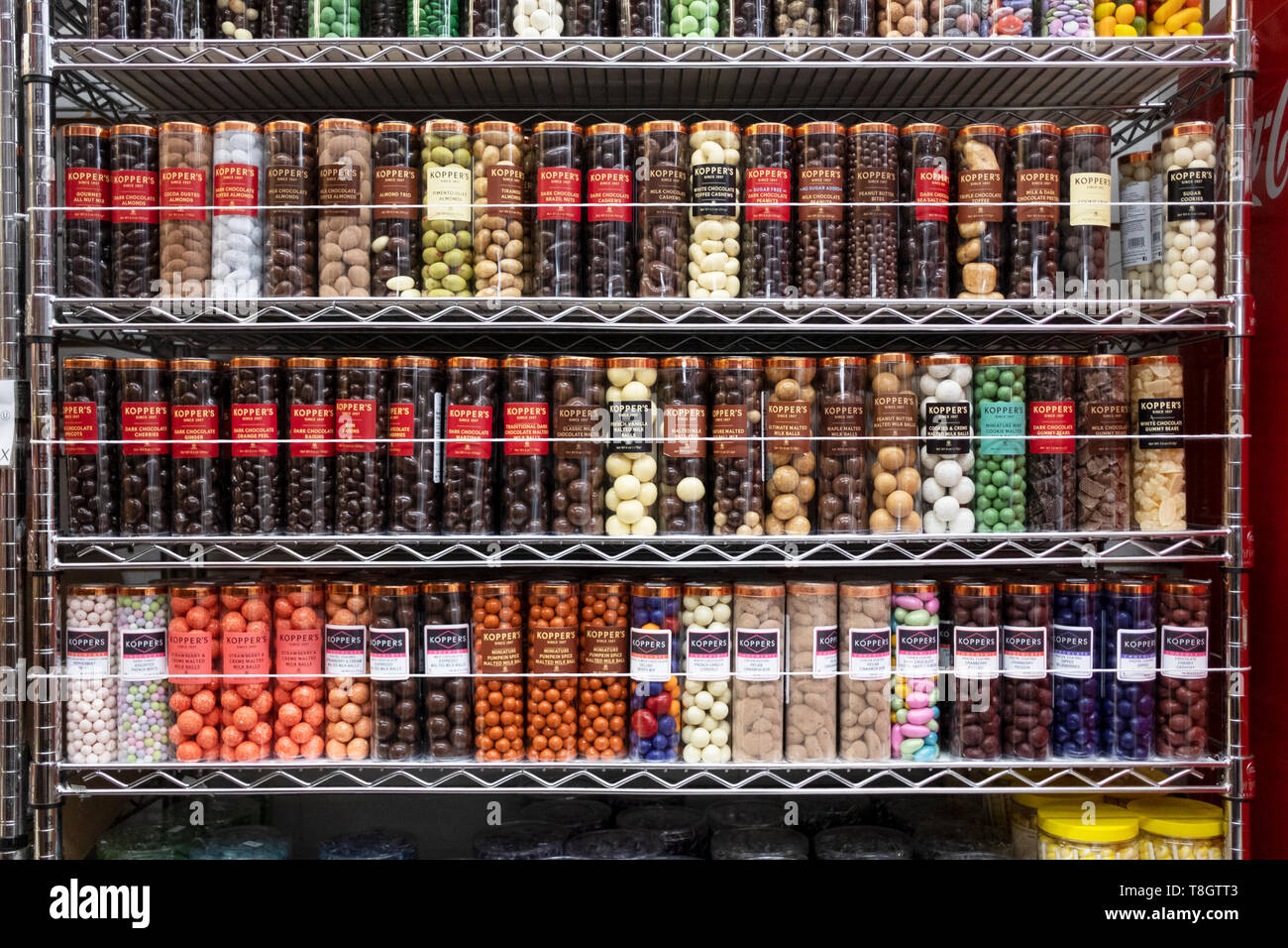 A neat display of jars of Kopper's chocolates and candies at ECONOMY CANDY on Rivington Street on the lower east side of Manhattan, New York City. Stock Photo