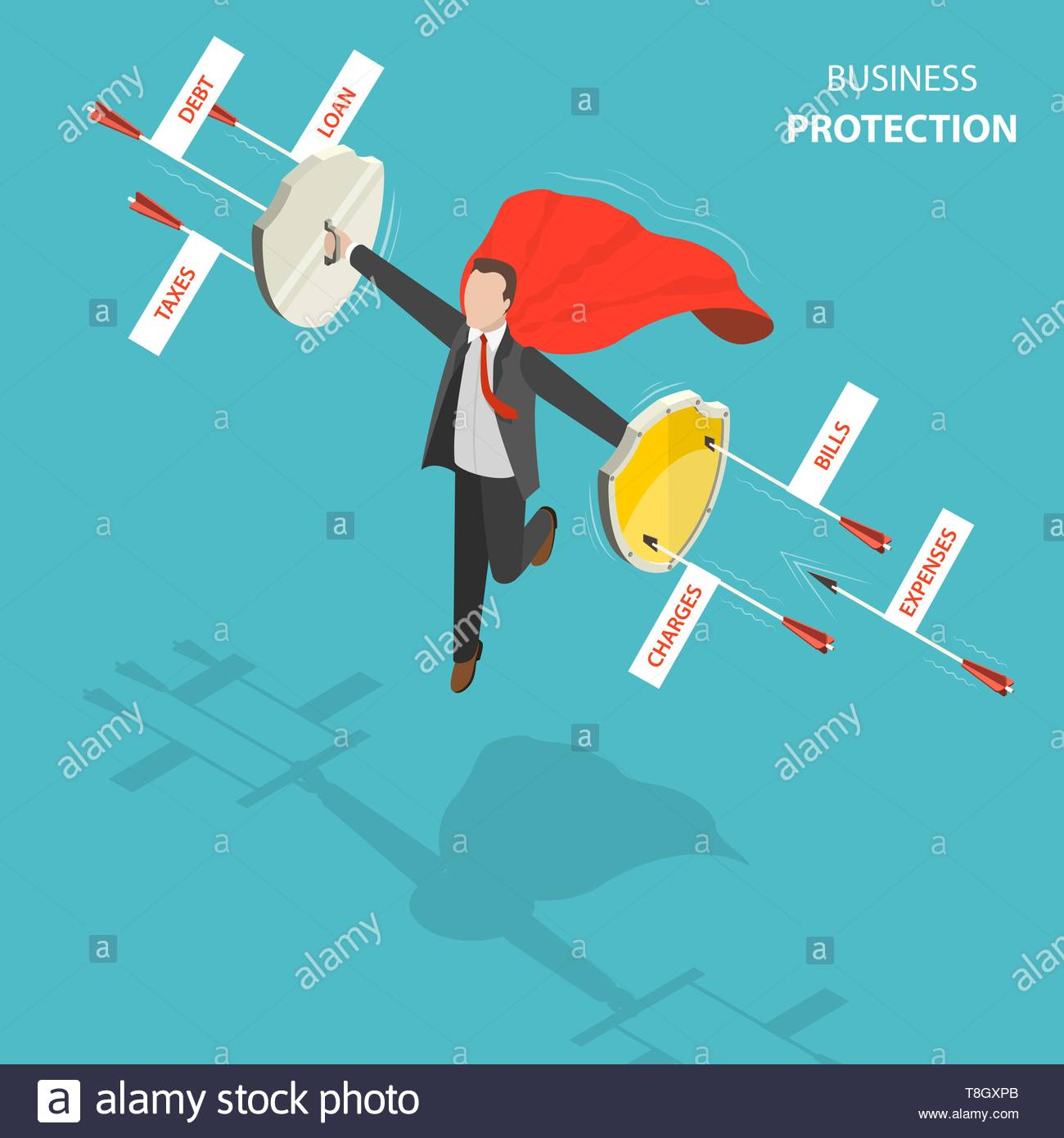 Business protection flat, isometric low poly vector concept. Man with a red cloak is hovering over the ground like a superhero with shields in his han - Stock Vector