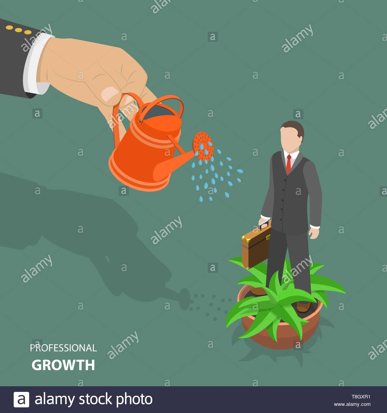 Professional growth flat isometric low poly vector concept. Big hand watering an employee in flowerpot. Displays a work of human resources management. - Stock Vector