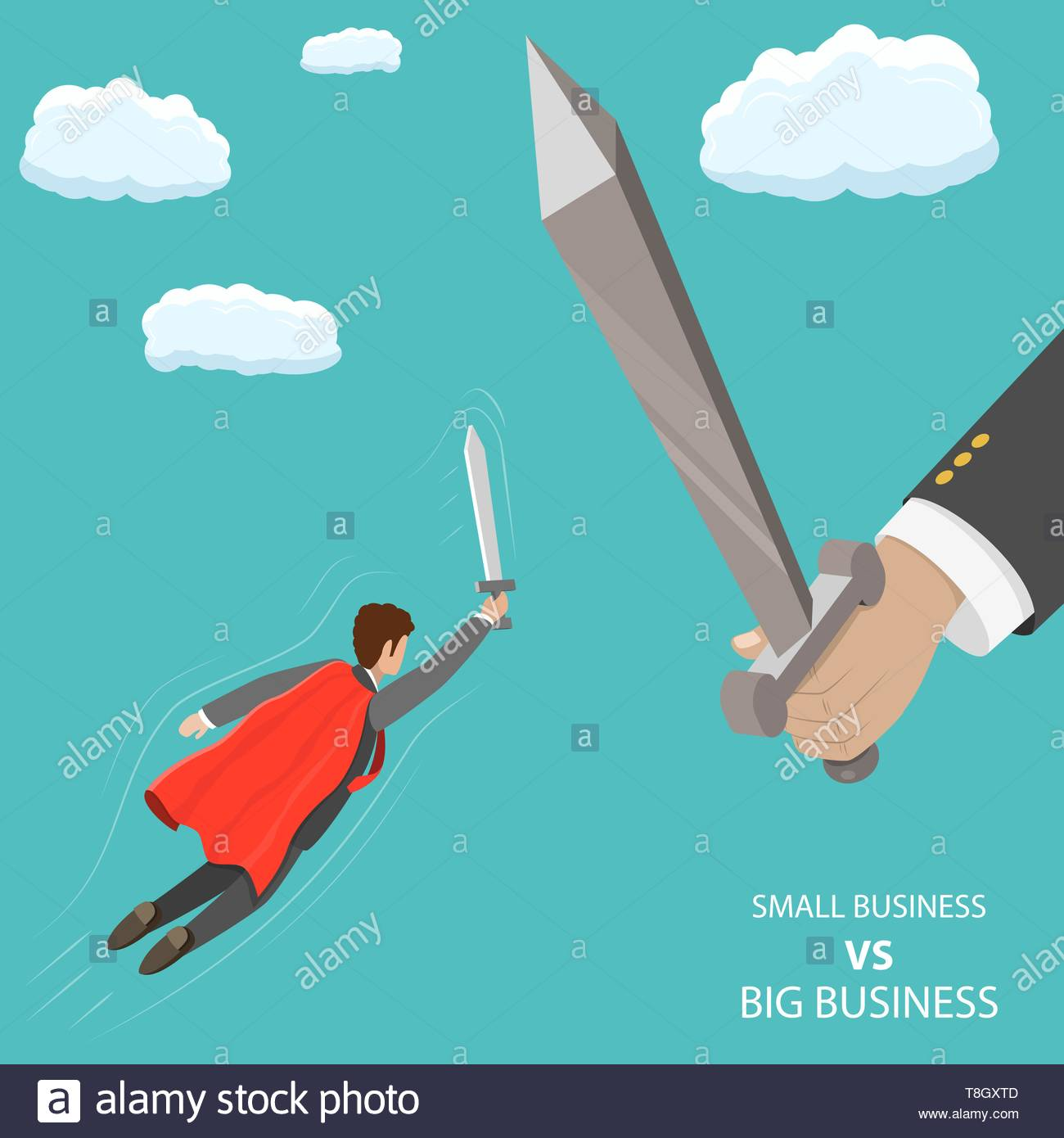 Small business VS big flat isometric vector concept. A businessman that looks like a superhero is flying with sword in his hand to fight with huge han - Stock Vector
